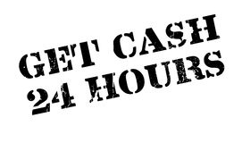 Get Cash 24 Hours rubber stamp. Grunge design with dust scratches. Effects can be easily removed for a clean, crisp look. Color is easily changed Stock Photo