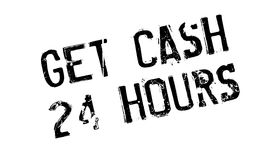Get Cash 24 Hours rubber stamp. Grunge design with dust scratches. Effects can be easily removed for a clean, crisp look. Color is easily changed Royalty Free Stock Image