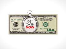 Get cash now - fast loan concept - 100 dollars with stopwatch. Get cash now - fast loan - 100 dollars with stopwatch Royalty Free Stock Image