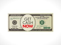 Get cash now - fast loan concept - 100 dollars with stopwatch. Get cash now - fast loan - 100 dollars with stopwatch Royalty Free Stock Photos