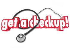 Get a Checkup Doctor Appointment Physical Health Evaluation. Get a Checkup words and stethoscope to illustrate the need to get regular physical examinations from Royalty Free Stock Photos