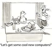 Get computers. Executive workers wants new computers royalty free illustration