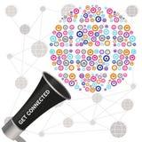 Get conectou a mensagem transmitida pelo megafone que mostra um t social Fotos de Stock Royalty Free