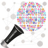 Get connected message transmitted by megafone showing a social t Royalty Free Stock Photos