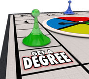 Get a Degree Words Board Game Advance Job Career Education Stock Photo
