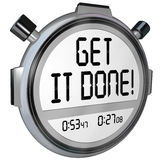 Get It Done Words Stopwatch Timer Complete Project Goal. The words Get it Done on a stopwatch or timer to encourage you to complete or finish a task or job Royalty Free Stock Images
