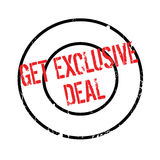 Get Exclusive Deal rubber stamp. Grunge design with dust scratches. Effects can be easily removed for a clean, crisp look. Color is easily changed Stock Photo
