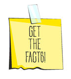 Get the facts paper sticky note. Retro reminder sticker Stock Photo