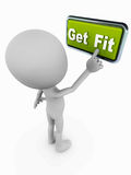 Get fit. Fitness, exercise and easy health improvement concept, 3d white man pressing a get fit button on white background vector illustration