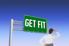 Get fit against blue and purple sky Royalty Free Stock Images
