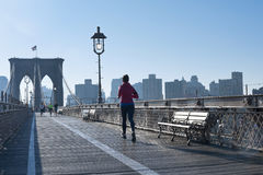 Get fit on Brooklyn Bridge Royalty Free Stock Photo