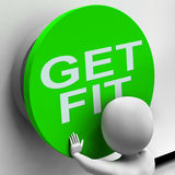 Get Fit Button Shows Physical And Aerobic Activity Stock Images