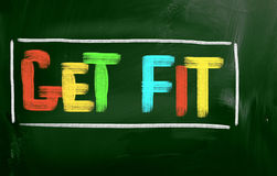 Get Fit Concept. Concept Handwritten With Chalk On A Chalkboard Stock Photo