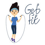 Get fit, jump rope girl. On a white background Royalty Free Stock Photos
