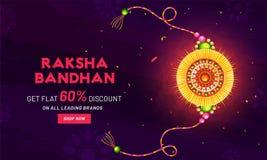 Get flat 60% discount offer for Raksha Bandhan. Get flat 60% discount offer for Raksha Bandhan festival, banner design with glossy golden rakhi wristband on royalty free illustration