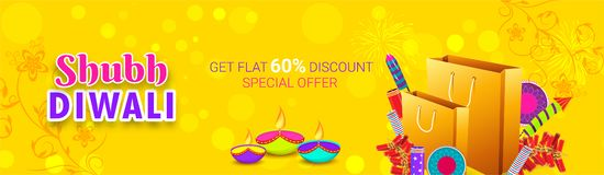 Get flat 60% discount offer on Shubh (Happy) Diwali sale. Advert. Ising banner with illustration of shopping bags, fire crackers and oil lamps on yellow blurred vector illustration