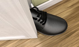 Get A Foot In THe Door. A literal depiction of the saying get a foot in the door Stock Image