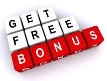 Get Free Bonus. Blocks spelling 'Get Free Bonus stock illustration