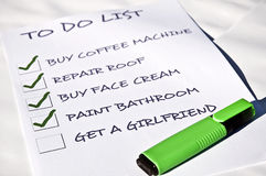 Get a girlfriend. To do list with get girlfriend Royalty Free Stock Photo