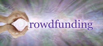 Get ha compreso con l'insegna di Crowdfunding fotografia stock libera da diritti
