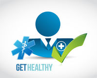Get healthy doctor approved sign. Illustration isolated over white Royalty Free Stock Photography