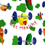 Get healthy seamless pattern with exhausted vegetables lifting weight Royalty Free Stock Image