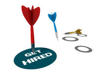 Get hired. Circle in perfect hit by a red dart, white a blue and yellow fall off at a distance, showing one successful hiring attempt, white background vector illustration