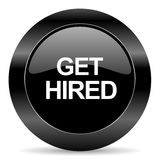 Get hired icon. Black circle web button on white background Royalty Free Stock Photo
