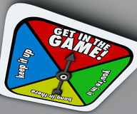 Get In The Game Spinner Compete Win Competition Take Chance Stock Photo