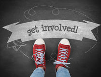 Get involved! against black background Royalty Free Stock Images