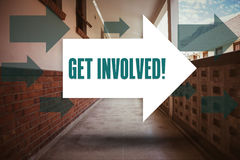 Get involved! against empty hallway Royalty Free Stock Photos