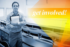 Get involved! against male teacher with notepad in the lecture hall Royalty Free Stock Photo