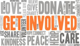 Get Involved Word Cloud. On a white background Royalty Free Stock Photo