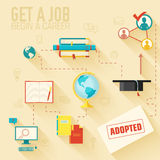 Get a job for begin a career infographic Stock Image