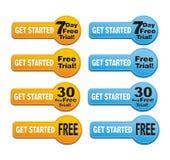 Get ligou - o botão da versão de avaliação gratuita Foto de Stock