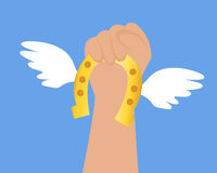 Get lucky. Hand holds a horseshoe with wings Royalty Free Stock Photo