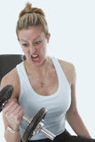 Get Mad!. Exagerated intensity on the bench Royalty Free Stock Photo