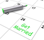 Get Married Calendar Means Wedding Day And Royalty Free Stock Image