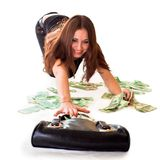 Get money. Girl take money from her bag Royalty Free Stock Photo
