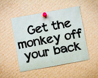 Get the monkey of your back. Message. Recycled paper note pinned on cork board. Concept Image Royalty Free Stock Photo