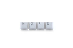 Get more. MORE sign made of isolated keyboard keys stock photos