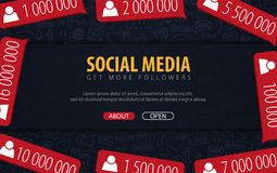 Get more Followers. Social Media banners with hand draw doodle background. Vector illustration. vector illustration