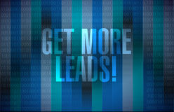 Get More Leads binary background sign Stock Image