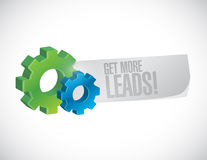 Get More Leads gear sign illustration Stock Images