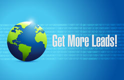 Get More Leads globe binary sign background Stock Image