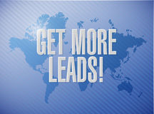 Get More Leads world map sign illustration Stock Photos