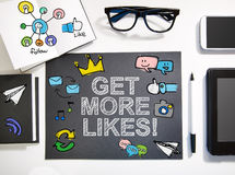 Get More Likes concept with black and white workstation Royalty Free Stock Photos