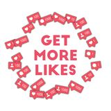 Get more likes. Social media icons in abstract shape background with counter, comment and friend notification. Get more likes concept in neat vector Royalty Free Stock Photo