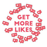 Get more likes. Social media icons in abstract shape background with pink counter. Get more likes concept in impressive vector illustration Royalty Free Stock Photography
