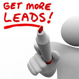 Get More Sales Leads Salesman Writing Words Increase Selling. Get More Leads written by a salesman with red marker to illustrate the need to find more customers vector illustration